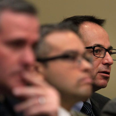 From left, defendants Daniel Lynch, Nelson Rivera and