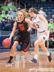 Katie McWilliams (left), a South Salem High graduate who helped lead Oregon State to the women's Final Four last season, is atop the women's all-time Hoopla efficiency rankings.