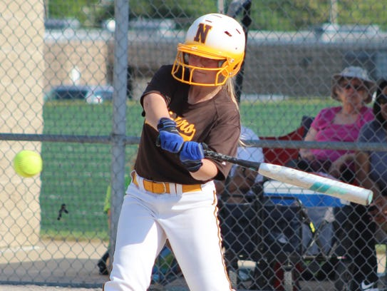 Sophomore infielder Molly Simpson connects on a fourth-inning