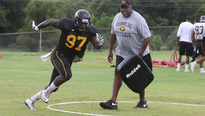 Defensive lineman D'Angelo Butler-Gatson runs a figure 8 during Grambling's football practice on Saturday, August 13, 2016.