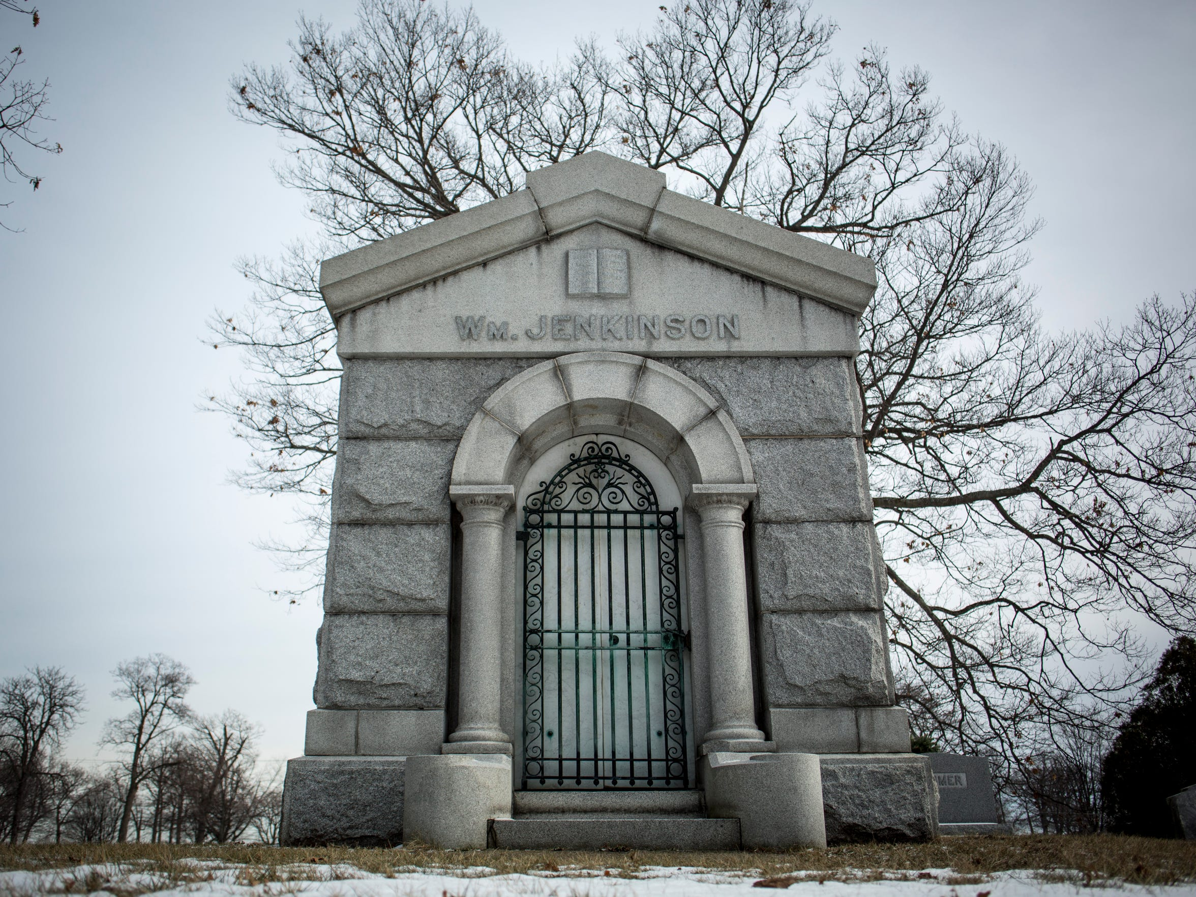 A mausoleum at Lakeside Cemetery in Port Huron.
