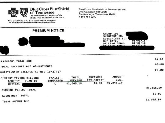 A letter from BlueCross BlueShield of Tennessee showing a premium for 2018 without a tax credit. The shopper was able to find a plan with $0 a month and a $20 deductible.