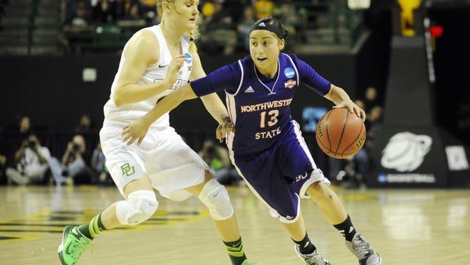 NSU's Janelle Perez drives against Baylor.