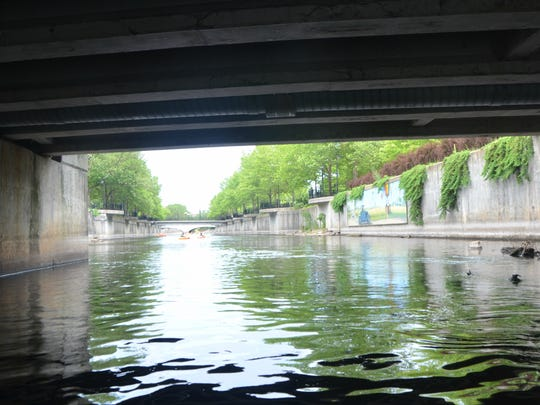 A view of the Battle Creek River from underneath Capital Avenue Northeast in downtown Battle Creek.
