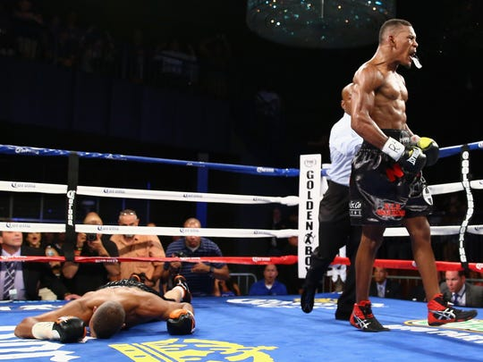 NEW YORK, NY - AUGUST 19: Danny Jacobs knocks out Giovanni Lorenzo in the third round of their Junior Middleweight fight at Best Buy Theater on August 19, 2013 in New York City. (Photo by Al Bello/Getty Images) ORG XMIT: 175463294 ORIG FILE ID: 176943193