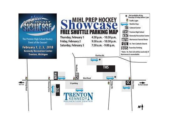 Shuttle parking for MIHL Prep Hockey Showcase in Trenton.