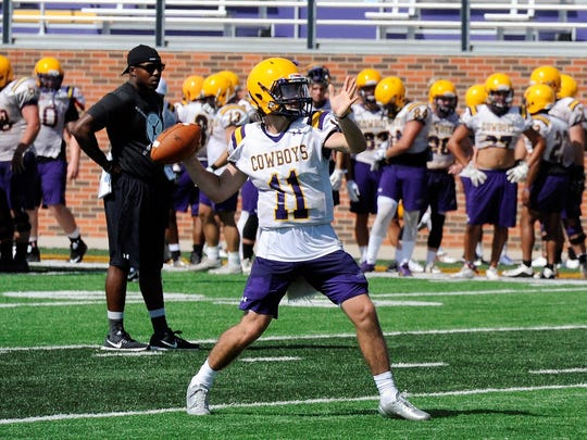 Hardin-Simmons quarterback Landry Turner prepares to throw during Saturday's practice. Turner is one of several Cowboys battling for the starting job.
