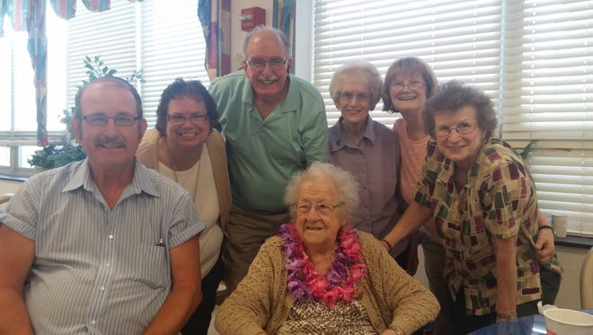 From left: Bob Erb, Suzanne (Younker) Miller, Ephraim Erb Jr., Betty Dodson, Nancy Younker-Torres and Sandy Erb get together to celebrate the 93rd birthday of Louise Moyer (front).