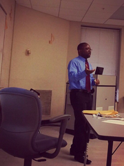 Getahn Ward teaching one of his journalism classes at Tennessee State University in 2015.
