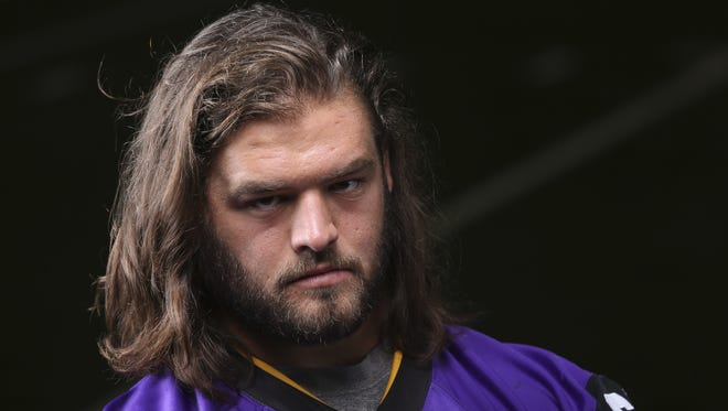 University of Northern Iowa offensive lineman Jack Rummells poses for a picture at the UNI football media day on Wednesday, Aug. 6, 2014, at the UNI-Dome in Cedar Falls, Iowa.