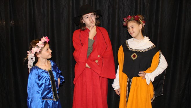 """A Children's Theatre of the Mesilla Valley presents """"The Three Musketeer's - All Swash and No Buckle"""" Friday and Saturday at  the Rio Grande Theatre. From left to right, Hailey Hakes, David Paulson-Cahall, Kendra Van Dorn."""