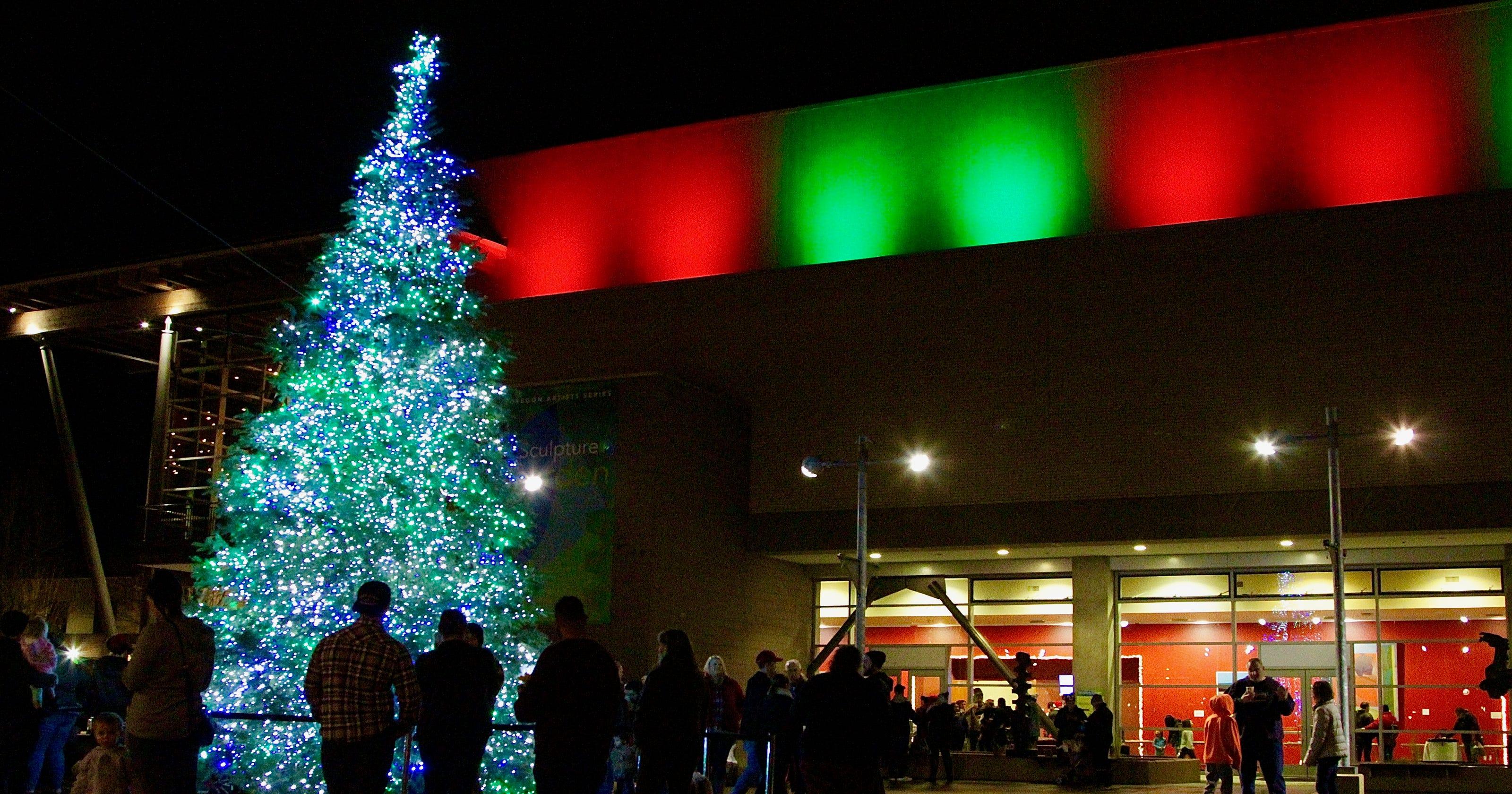 2018 holiday, Christmas tree lighting events in, around Salem, Oregon