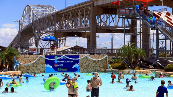 Members of the US Coast Guard celebrate 226 years of Coast Guard service Thursday, Aug. 4, 2016, at Hurricane Alley Waterpark in Corpus Christi.