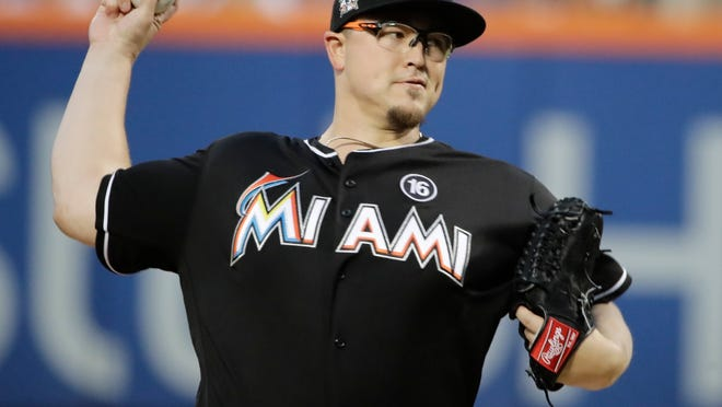 Miami Marlins' Vance Worley delivers a pitch during the first inning of a baseball game against the New York Mets Saturday, Aug. 19, 2017, in New York. (AP Photo/Frank Franklin II)