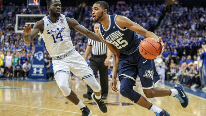 Villanova Wildcats guard Mikal Bridges (25) drives to the basket as Seton Hall Pirates forward Ismael Sanogo (14) defends during the first at Prudential Center.