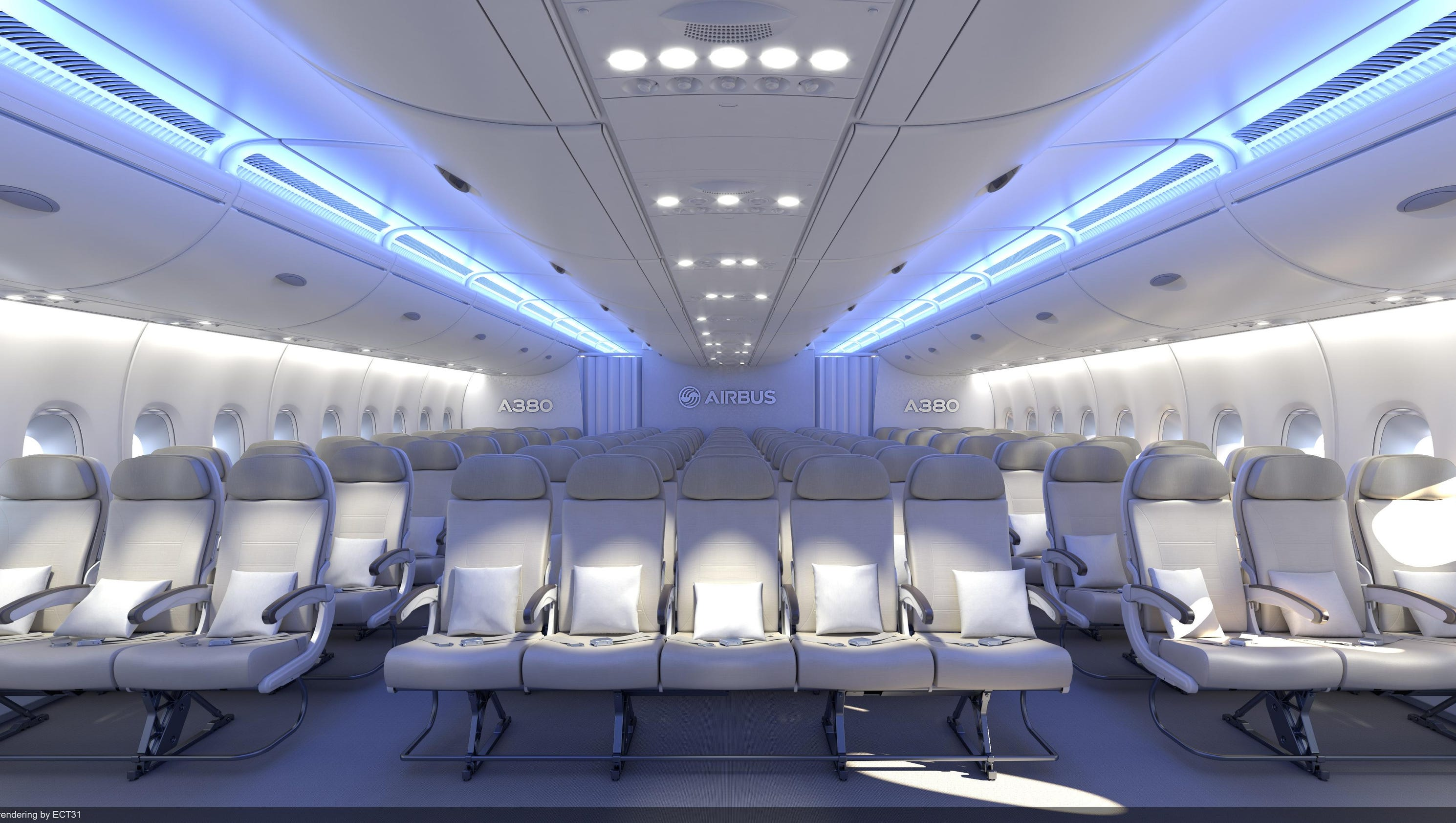 Airbus pitches adding an extra seat to every row in its a380s for Interieur qatar airways
