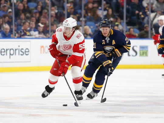 Tyler Bertuzzi skates with the puck against the Sabres on March 29, 2018 in Buffalo.