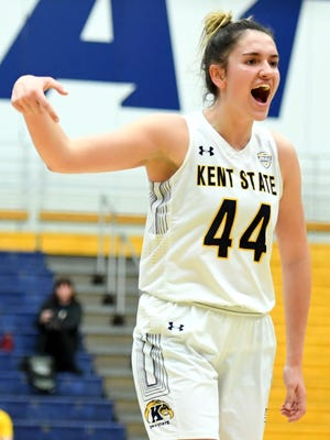 Junior forward Lindsey Thall hit a 3-pointer that put Kent State ahead to stay during the final minutes of Saturday's victory at Northern Illinois.