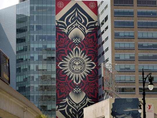 The Shepard Fairey mural commissioned on the One Campus Martius building in Detroit.