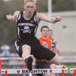 Brighton's Shannon McGrath takes first in the 100m dash in the meet against Pinckney.