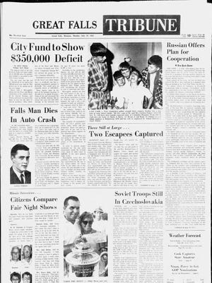 Front page of the Great Falls Tribune on Monday, July 22, 1968.