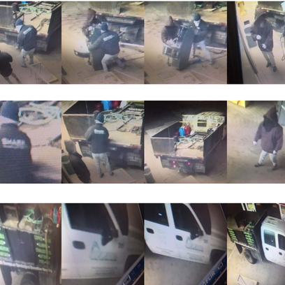Surveillance photos shows two men stealing an ATM from