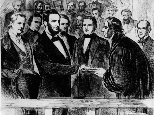 Abraham Lincoln (seen here taking the oath of office for his second term as president of the United States on March 4, 1865) offers lessons for President Donald Trump.
