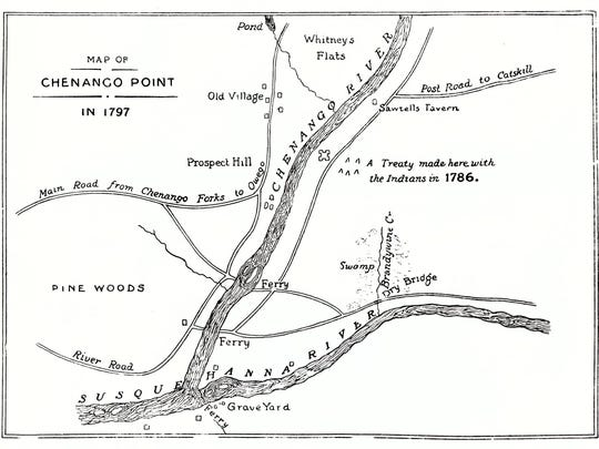 A 1797 map of the Binghamton area showing early roads.