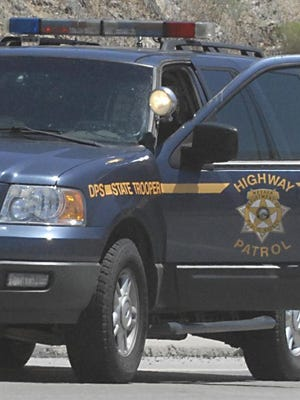 A file photo of a Nevada Highway Patrol vehicle. Troopers were investigating a fatal crash that killed a California man on Monday.