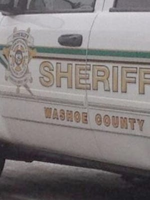 A file photo of a Washoe County Sheriff's vehicle. Deputies arrested two individuals on illegal soliciation after a Cold Springs homeowner reported suspicious activity.