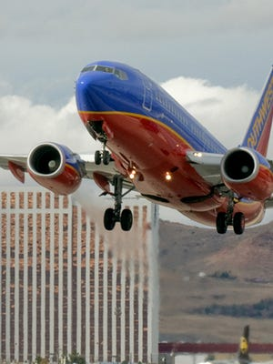 A file photo showing a Southwest Airlines plane landing at the Reno-Tahoe International Airport.