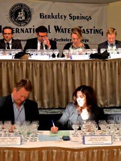 Judging water at the Berkeley Springs tasting contest.