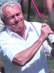 Arnold Palmer hit the ball on No. 3 at the Senior PGA