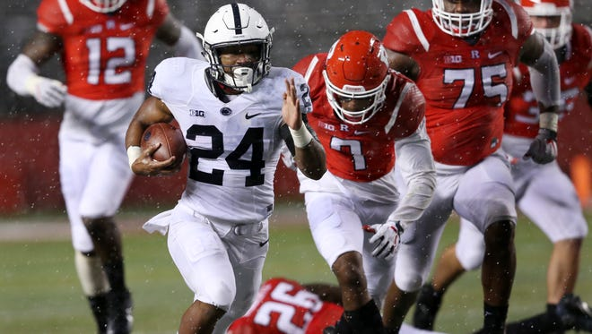 Penn State's stunning possibilities have been built by prolific, young talent like Miles Sanders (24). With the right kind of leadership to mold them as they go.