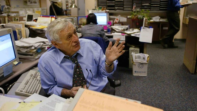 """As Tennessean editor, John Seigenthaler led coverage of the civil rights movement when most Southern newspapers ignored it and exposed corruption in the Teamsters union and illicit activities of the Ku Klux Klan. """"I just can't think of anything I could have done with my life that would have been more meaningful"""" than journalism, he said."""