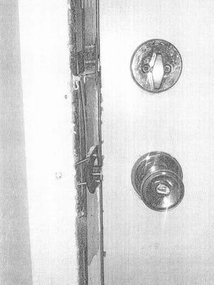 A photo of Elizabeth Pellerito's apartment door police