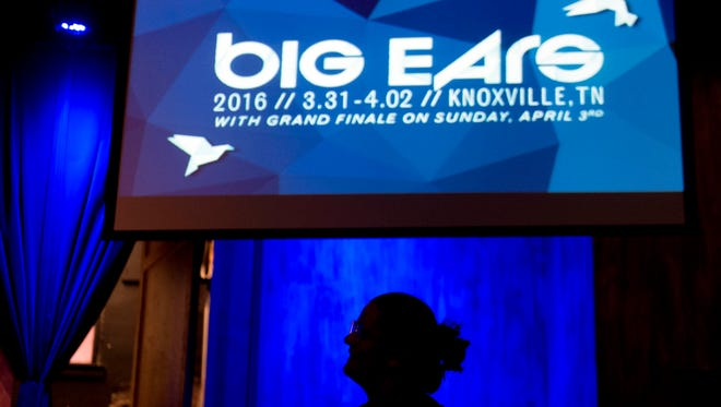 Guests attend the opening reception for Big Ears at the Square Room on March 31, 2016.