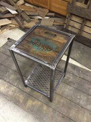 These side tables add local history to your home and are made from repurposed wood and metal from metro Detroit.