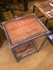 Metal table made from reclaimed wood in Detroit.