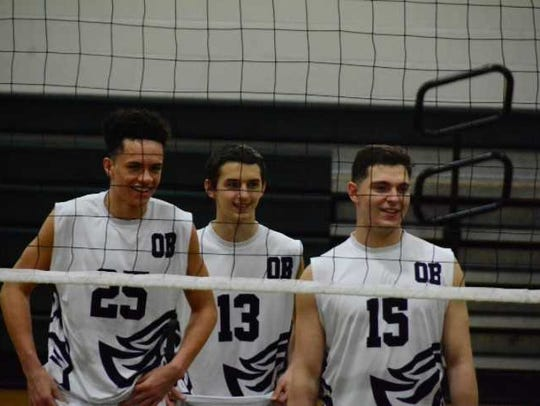 Old Bridge volleyball players during a recent game.
