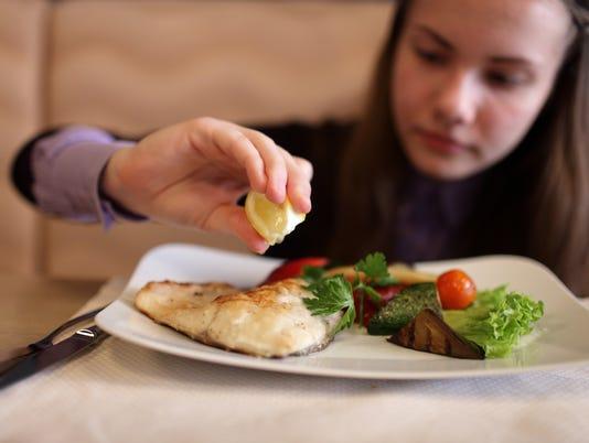 Teen has lunch