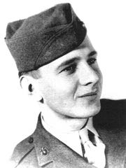 """Edgar Harrell is shown as a 19-year-old U.S. Marine in 1945. Harrell, a survivor of the sinking of the USS Indianapolis,wrote a memoir of his experiences, published in May 2014, entitled """"Out of the Depth: An Unforgettable WWII story of survival, courage and the sinking of the USS Indianapolis."""