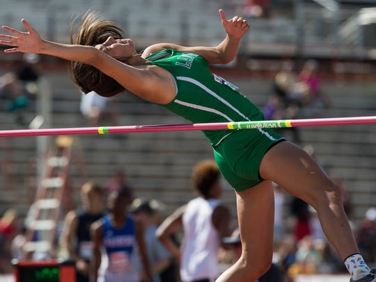 Wall's Sam Rocha competes in the 3A girls high jump