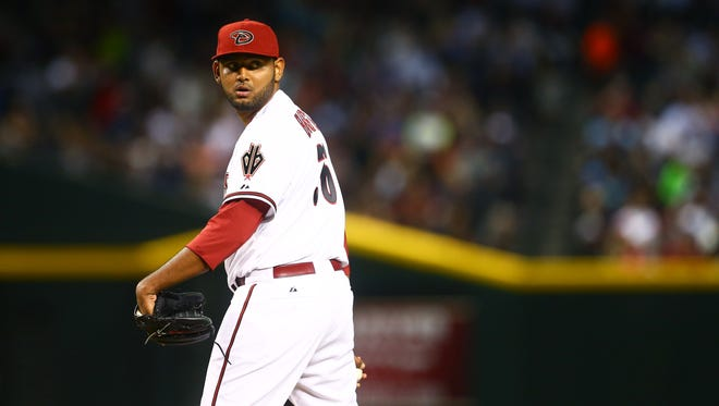 May 8, 2015: Arizona Diamondbacks pitcher Enrique Burgos against the San Diego Padres at Chase Field.