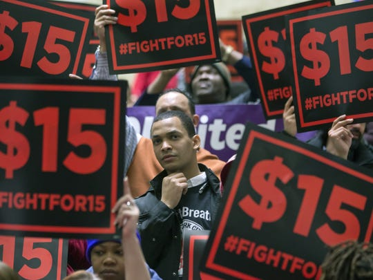Supporters of a $15 minimum wage rally in Albany in March 2016.