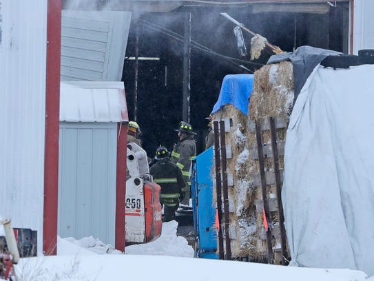 Denmark Fire Department crews respond to a collapsed