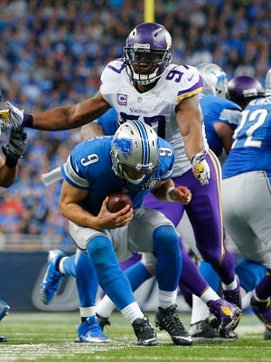Vikings defensive end Everson Griffen closes in on Lions quarterback Matthew Stafford on Oct. 25, 2015, in Detroit.