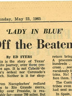"A news article mentioning the ""Lady in Blue,"" and appearing in the San Angelo Standard-Times on May 23, 1965."