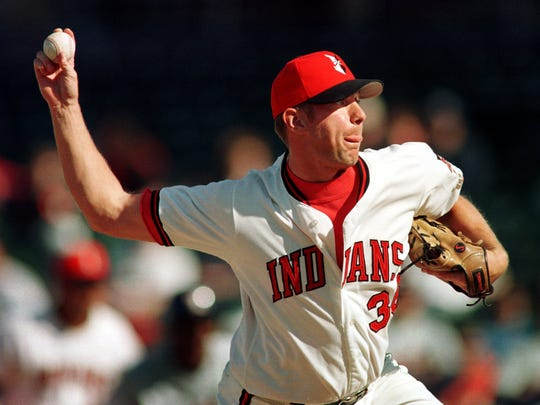 ndians relief pitcher Todd Williams retires the last of the Mudhens batters in the top of the nineth inning Sunday afternoon. April 12, 1998, at Victory Field. The Indians defeated the Mudhens 5-2