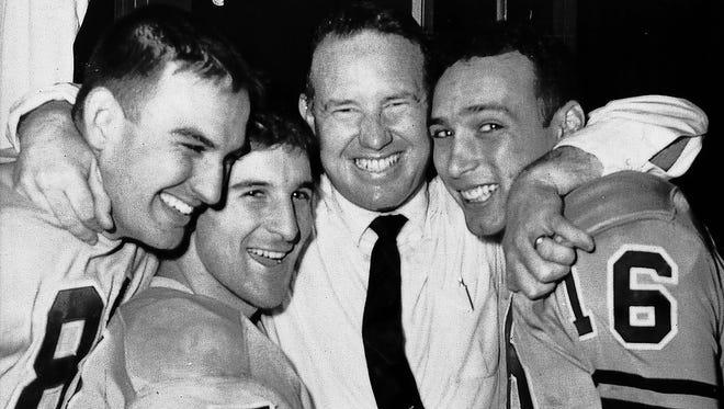 Wayne Hardin with players.